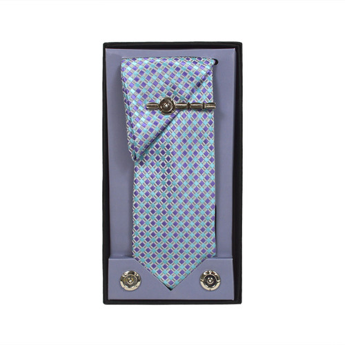 Purple Micro Poly Woven Tie, Matching Hanky, Cufflinks & Tie Bar Set PWTHPU8BX