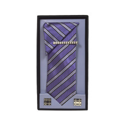 Purple Micro Poly Woven Tie, Matching Hanky, Cufflinks & Tie Bar Set PWTHPU10BX