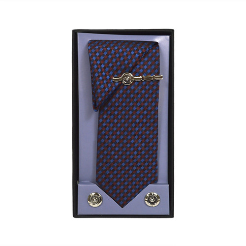 Brown Micro Poly Woven Tie, Matching Hanky, Cufflinks & Tie Bar Set PWTHBR3BX