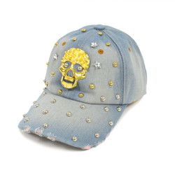 "Bling Studs ""Skull"" Denim Cap"