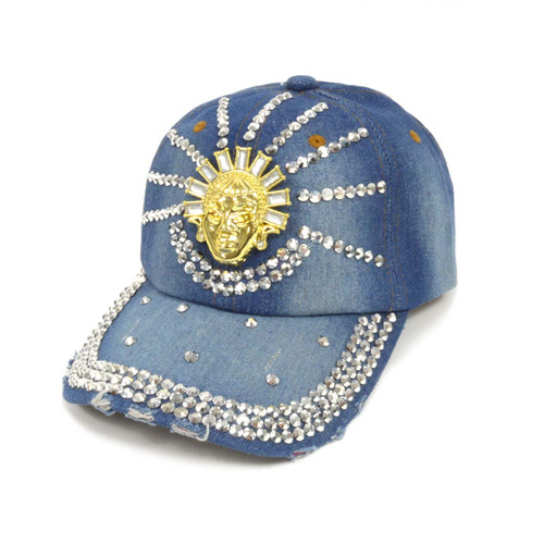 "Bling Studs ""Buddha"" Denim Cap"