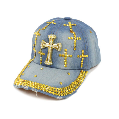 "Bling Studs ""Gold Cross"" Denim Cap"
