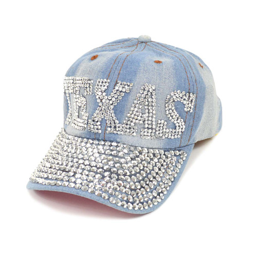 "Bling Studs ""Texas"" Light Denim Cap"