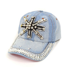 "Bling Studs ""Snowflake"" Light Denim Cap"