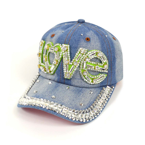 "Bling Studs ""Love"" Denim Cap"