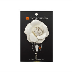 White Faux Leather Poly Lapel Flower Pin F10083-WH
