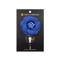 Royal Blue Faux Leather Poly Lapel Flower Pin F10083-RBL