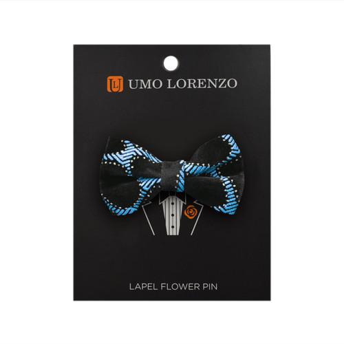Blue Honey Comb Poly Bow Lapel Pin B10156-BL