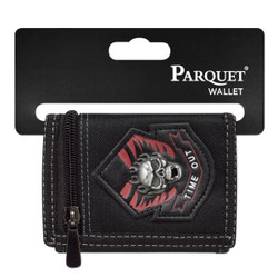 Men's Polyester Time Out Skull Tri-fold Velcro Wallets
