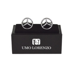 "Silver-tone ""Mercedes"" Brass Novelty Cufflinks NCL1603"