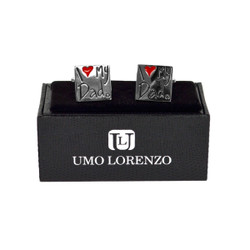 "Silver-tone ""I Love My Dad"" Brass Novelty Cufflinks NCL1606"