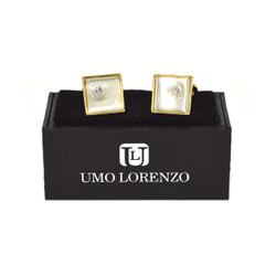 Gold-tone Crystal Black Stone Square Brass Cufflinks CL1439