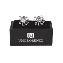 "Silver-tone ""Octopus"" Brass Novelty Cufflinks CL1449"