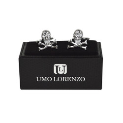 "Silver-tone ""Skull"" Brass Novelty Cufflinks CL1452"