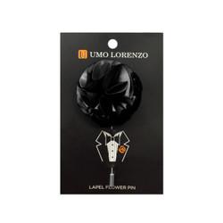 Black Solid Poly Flower Lapel Pin F10084-BK