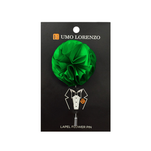 Green Solid Poly Flower Lapel Pin F10084-GN