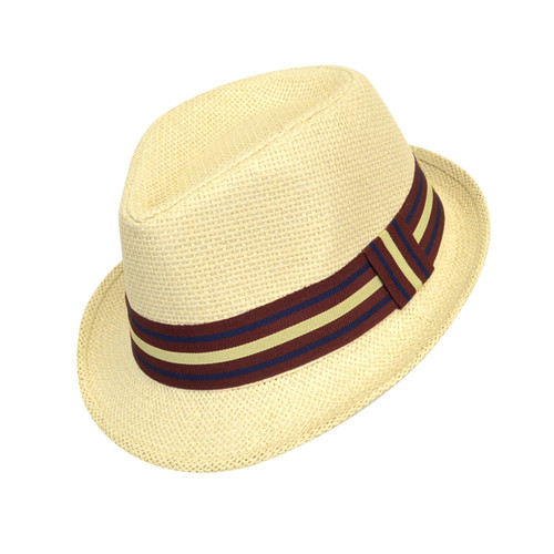 6pc Boy's Spring/Summer Cream Straw Fedora Hats with Burgundy/Navy Striped Band