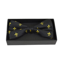 3pc Men's Fleur-de-lis Black Banded Bow Tie (NFB10020)
