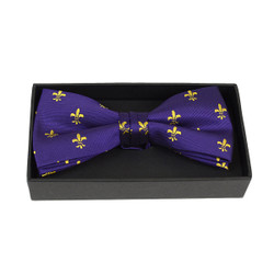 3pc Men's Fleur-de-lis Purple Banded Bow Tie (NFB10021)