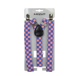 6pc Men's Y-Back American Flag Checkered Adjustable Elastic Clip-on Suspenders
