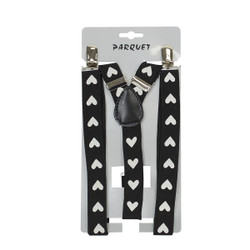 6pc Men's Y-Back White Heart Adjustable Elastic Black Clip-on Suspenders