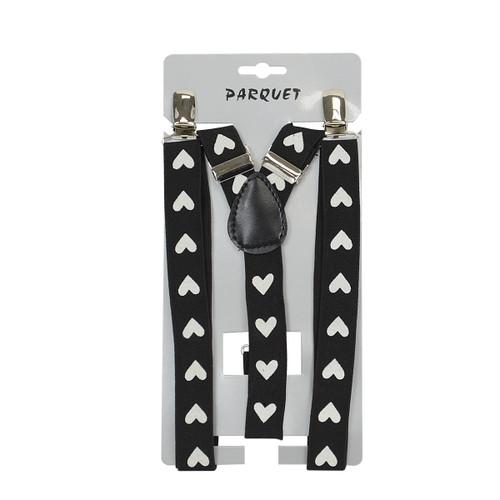 6pc Men's Y-Back White Heart Adjustable Elastic Black Clip-on Suspenders