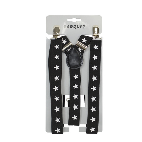 6pc Men's Y-Back Stars Adjustable Elastic Black Clip-on Suspenders
