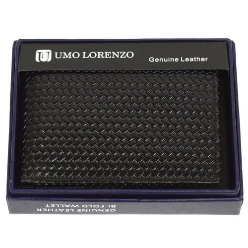 Bi-Fold Genuine Leather Black Woven Wallet CLG786BK