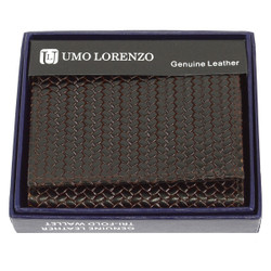 Tri-Fold Genuine Leather Brown Woven Wallet CLG96BR
