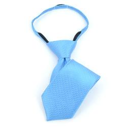 Boy's Turquoise Geometric/Polka Dot  Zipper Tie - MPWZ1139