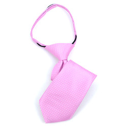 Boy's Pink Geometric/Polka Dot Zipper Tie - MPWZ1140