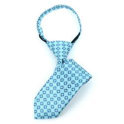 Boy's Turquoise Geometric/Polka Dot  Zipper Tie - MPWZ1142