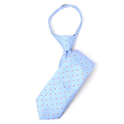 Boy's Sky Blue Geometric/Polka Dot  Zipper Tie - MPWZ1443