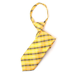 Boy's Yellow Plaid Zipper Tie - MPWZ1449