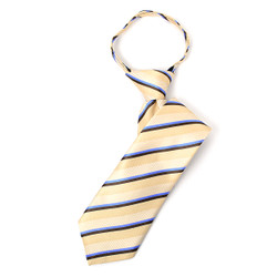 Boy's Tan Striped  Zipper Tie - MPWZ1450