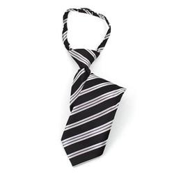 Boy's Black & Gray Stripes Zipper Tie - MPWZ14-05
