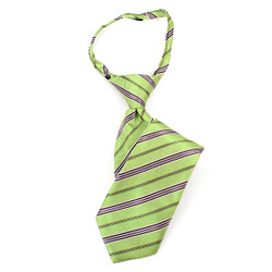 Boy's Green & Gray Striped Zipper Tie - MPWZ14-12