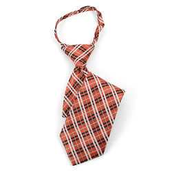 Boy's  Orange & Black/White Plaid Zipper Tie - MPWZ14-16