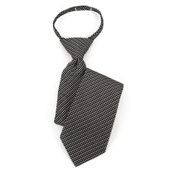 Boy's Black/White & Gray Geometric/Polka Dot Zipper Tie - MPWZ17-02