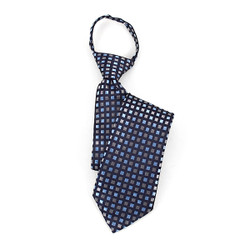 Boy's Blue & Silver Plaid Zipper Tie - MPWZ17-10