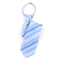 Boy's Blue & White Striped Zipper Tie - MPWZ17-11