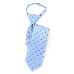 Boy's Blue & Brown Geometric/Polka Dot Zipper Tie - MPWZ17-12