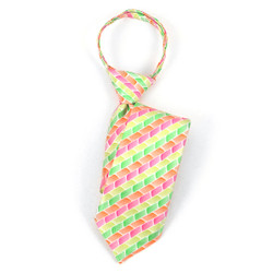 Boy's Green, Orange & Pink Geometric/Polka Dot Zipper Tie - MPWZ17-18