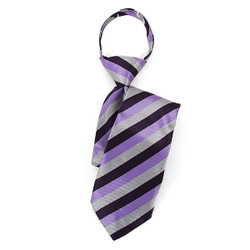 Boy's Purple & Silver Striped Zipper Tie - MPWZ17-22