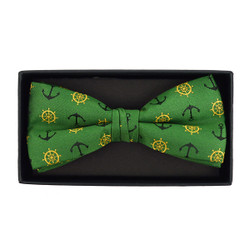 Men's Novelty Green Anchor Banded Bow Tie - NFB10029