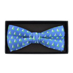 Men's Novelty Blue Sailor Boat Banded Bow Tie - NFB10025