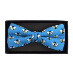 Men's Novelty Blue Bee Banded Bow Tie - NFB10024