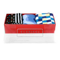 Fancy Multi Colored Socks Gift Red Box (3 paris in Box)  SGBL14