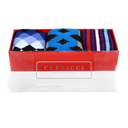 Fancy Multi Colored Socks Gift Red Box (3 paris in Box)  SGBL17
