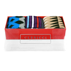 Fancy Multi Colored Socks Gift Red Box (3 paris in Box)  SGBL20